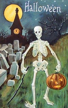 1901 card <> 'The SKELETONS are out tonight, they march about the street, With bony bodies, bony heads, and bony hands and feet. Bony bony bony bones, with nothing in between, Up and down and all around, they march on Halloween.' ~Jack Prelutsky, 'Skeleton Parade'