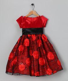 Another great find on #zulily! Red & Black Daisy Satin Bon Bon Dress - Infant, Toddler & Girls #zulilyfinds