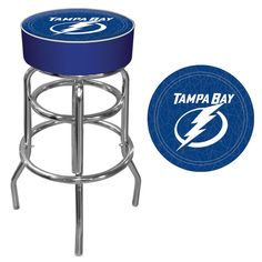 Trademark Commerce NHL1000-TBL NHL Tampa Bay Lightning Padded Bar Stool