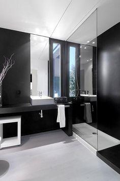 bathroom interior, black and white bathroom, modern bathroom Diy Bathroom Remodel, Bathroom Interior, Budget Bathroom, Basement Bathroom, Bathroom Remodeling, Bathroom Ideas, Basement Remodeling, Bad Inspiration, Bathroom Inspiration