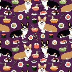 1 yard (or 1 fat quarter) of corgis sushi and noodles fabric cute food design noodle pot sushi corgis tri colored corgi fabric by designer petfriendly. Printed on Organic Cotton Knit, Linen Cotton Canvas, Organic Cotton Sateen, Kona Cotton, Basic Cotton Ultra, Cotton Poplin, Minky, Fleece, or Satin fabric.  Available in yards and quarter yards (fat quarter). This fabric is digitally printed on demand as orders are placed. Unlike conventional textile manufacturing, very little waste of…