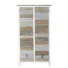 Wooden wardrobe in white W 110cm Noirmoutier