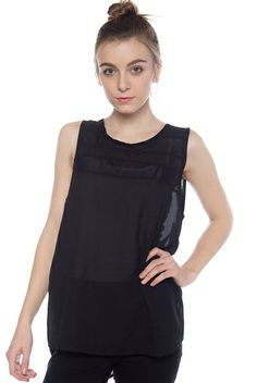 Structural Design Sleeveless High Low Chiffon Top - Black from Zenana Outfitters at Lucky 21
