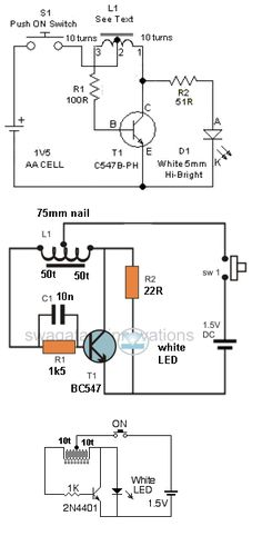 """a transformer) increasing the supply to a higher voltage to illuminate one or two LEDs in series. The """"LED Basic Electronic Circuits, Electronic Schematics, Electronic Engineering, Electrical Engineering, Simple Electronics, Electronics Basics, Electronics Components, Electronics Projects, Joule Thief"""