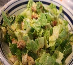 Lidia's Caesar Salad - easy and delicious dressing.  I used a few more anchovy fillets