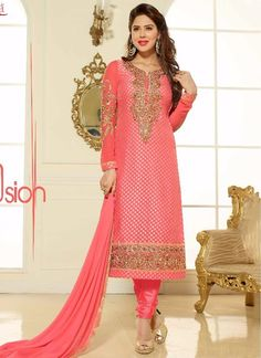 Modern Embroidered Work Churidar Salwar Kameez | Item Code: 4257