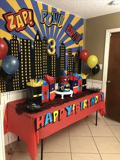 Cake table for batman Spider-Man superman superhero birthday party