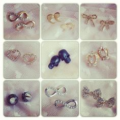 $10 each - bow, skulls, and infinity earrings studs <3
