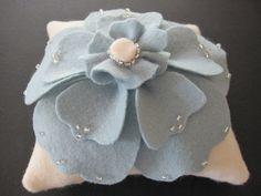 Ring Bearer Pillow Wedding Ivory Blue Anemone Flower choose your colors #ringbearerpillow by ArtisanFeltStudio on Etsy, $47.00