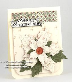 Poinsettias embossing folder by Tim Holtz' Alterations last week and i fell in love. the embossing folder matches with the new Tattered Poinsettia die Poinsettia Cards, Christmas Poinsettia, Christmas Tag, Handmade Christmas, White Christmas, Christmas Ideas, Beautiful Christmas Cards, Vintage Christmas Cards, Homemade Christmas Cards