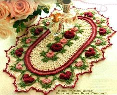 Crochet Pattern Only Romantic Rose Parade Doily Pattern Valentine Crochet Dollies, Crochet Doily Patterns, Crochet Patterns For Beginners, Thread Crochet, Crochet Flowers, Crochet Stitches, Knitting Patterns, Crochet Stars, Flower Patterns