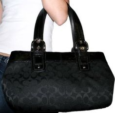 Authentic Coach Black Signature Satchel Tote Carryall Handbag 13742 $270.00 (25% OFF)