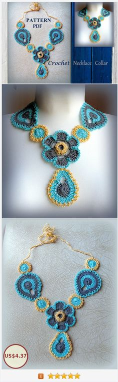Crochet necklace #Tutorial Flowers Bib Necklace #Pattern #Pdf Pictures Crochet jewelry collar bibs Bridal how to make #crochetnecklace #instruction #crochetPdf #collar https://www.etsy.com/OLEANDR/listing/552335309/crochet-necklace-tutorial-flowers-bib?ref=shop_home_active_1