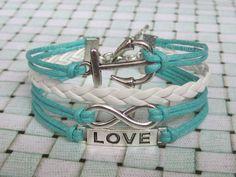 Infinity bracelet, Anchor Bracelet, love bracelet, silver charms bracelet,mint bracelet, nautical bracelet, friendship Bracelet - B135