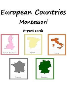Montessori Printables. This bundle includes montessori 3-part cards of 5 European countries - Great Britain, Italy, Germany, France and Spain. These cards will help your child to explore and know more about European Countries! They can be used during Europe study. These 3-part cards include maps, capitals, landmarks, food and other! The color coding corresponds to Montessori Europe map. Material consists of: - 50 name and picture cards - 50 picture cards - 50 name cards
