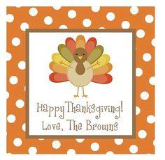 Thanksgiving Turkey Sticker Gift Tag Address Label by erinshelby, $12.50
