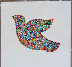 FINGERPRINT PEACE DOVE      The prints of fingers created the peace dove in the framed artwork by the students in Ms. LaTocha's kindergarten...