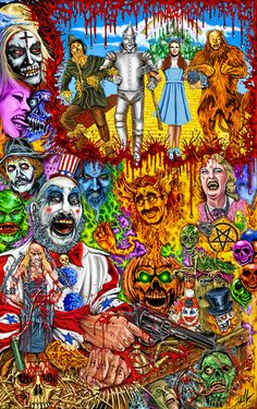 The wonderful wizard of Rob zombie Zombie Movies, Scary Movies, Horror Movie Posters, Horror Movies, Rob Zombie Art, Zombie Rules, White Zombie, Horror Artwork, Monsters