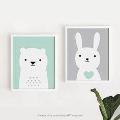 Printable Nursery Art Set of 2 Poster Baby room Wall by ARTsopoomc