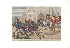 September 1812.Bodleian Libraries, King Joey taking leave of his capital ie- Madrid relieved from robbers.Satire on the Peninsular war. (British political cartoon); Joseph Bonaparte and two French officers flee Madrid, chased by Wellington mounted on a white horse. Joseph drops looted Spanish gold.