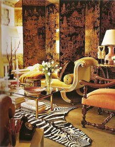 Chinoiserie, but loose the zebra rug please Decoration Inspiration, Interior Inspiration, Design Inspiration, Interior Decorating, Interior Design, Decorating Ideas, Interior Modern, Chinoiserie Chic, Asian Decor