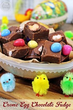 Creme Egg Chocolate Fudge, the perfect gift or great way to use up leftover Easter eggs! Fab Food 4 All