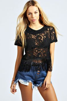 Alice Woven Lace Front Fringe Top