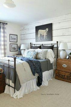 Gray, white, blue, black color combination Farmhouse bedroom