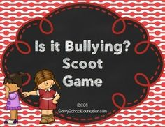 ICT/Health - Bullying Scoot Game - a fun whole class activity involving movement around the classroom. It includes 28 game cards, an answer grid for students and an answer key. Bullying Activities, Bullying Lessons, Counseling Activities, Middle School Counseling, Elementary School Counselor, Elementary Schools, Classroom Behavior, Classroom Management, Bullying Prevention
