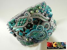 """The """"Trifecta Cuff"""" incorporates bead-embroidery, soutache  shibori techniques and was born of a client's wish to incorporate a cherished piece of an old silver and turquoise bracelet."""