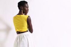 Yellow Crop Top + White Maxi Skirt  by DIMILOC