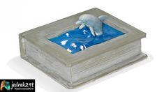 Interesting combination of a dolphin swimming in a pool from a cement book. Imagination has no limits Resin Art, Cement, Dolphins, Diorama, Swimming, Books, Swim, Libros, Book