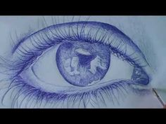 How to draw EYE with BALLPOINT PEN - YouTube