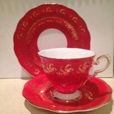 Vintage Royal Standard Red Bone China Tea Cup and Saucer Set by natalie-w