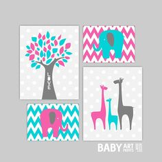 Hey, I found this really awesome Etsy listing at https://www.etsy.com/listing/164115433/hot-pink-and-dark-turquoise-girl-nursery