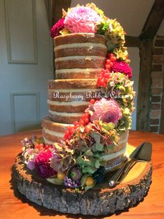 Raspberry Ribbon Cakes #Naked #Wedding #Cake dressed with Autumnal fresh berries and flowers