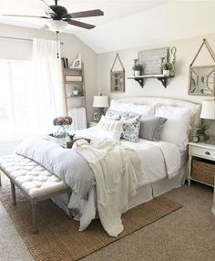27 Beautiful Modern Farmhouse Bedroom Design Ideas And Decor. If you are looking for Modern Farmhouse Bedroom Design Ideas And Decor, You come to the right place. Below are the Modern Farmhouse Bedro. Guest Bedrooms, Modern Farmhouse Bedroom, Bedroom Makeover, Home Bedroom, Home Decor, Minimalist Bedroom, Modern Bedroom, Remodel Bedroom, Master Bedrooms Decor