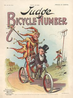Judge Magazine March 28, 1896 - Bicycle Number - Political Satire Poster
