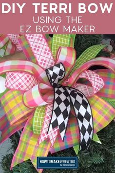 Expand your skills! This tutorial uses the EZ Bow Maker and shows you how to make a Terri Bow you'll love in less than 10 minutes! How To Make Bows, How To Make Wreaths, Funky Bow, Types Of Bows, Wreath Making, Bow Tutorial, All The Way, Gift Wrapping, Easy