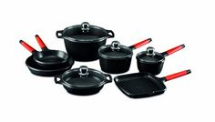 Fundix by Castey 11Piece Nonstick Cast Aluminium Induction Set with Removable Red Handles -- Details can be found by clicking on the image. (Amazon affiliate link)