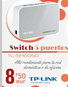 #TP-Link TL-SF1005D Switch 5 puertos 10/100.    http://www.opirata.com/es/tplink-tlsf1005d-switch-puertos-10100-p-12329.html
