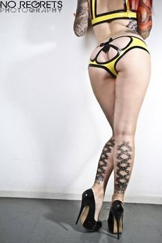 Latex undies and tattoos on legs pretty