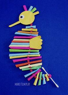 Paper Straw Seahorse – Make Film Play Straw Crafts, Craft Stick Crafts, Paper Crafts, Diy Crafts, Spring Crafts For Kids, Spring Projects, Diy For Kids, Preschool Art, Craft Activities For Kids