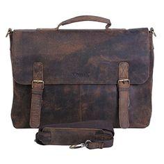 a744b46633 KomalC 15 Inch Retro Buffalo Hunter Leather Laptop Messenger Bag Office  Briefcase College Bag CYBER MONDAY