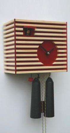 Modern cuckoo clock<br>Bauhaus Design, red, 8 day