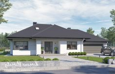 Project of a one-storey house with a garage. House Plans Mansion, My House Plans, One Storey House, House Design Pictures, Natural Building, Facade House, Gazebo, Exterior, Outdoor Structures