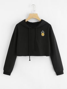 2018 New Women Hoodie Appliques Pinapple Sweatshirt Fashion Long Sleeve Pullover Topsuotelab Crop Top Hoodie, Crop Top Sweater, Cropped Hoodie, Teen Fashion Outfits, Trendy Outfits, Girl Outfits, Cute Outfits, Belly Shirts, Cute Sweatshirts