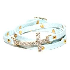 Pale Blue Leather Triple Wrap Bracelet with Crystal Sideways Cross and Gold Tone Studs