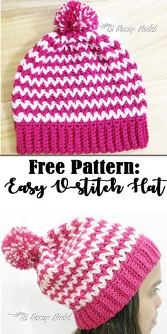 FREE PATTERN for an Easy V-Stitch Hat. V-stitches are so fun and easy to make. Try making this hat pattern and you will know.