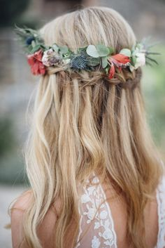 Hair Updo, Flowerwreath, Boho Wedding, Mallorca, Finca Wedding, Boho Vibes majorca, Boho Chic Mallorca, Boho Hair, Ses Set Cases, www.taliphotography. com